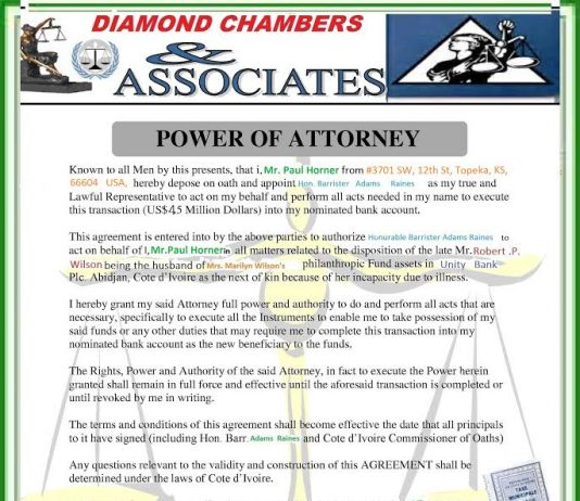 Diamond Chambers & Associates and Mrs. Marilyn Wilson and the WILSON'S FOUNDATION are a scam.